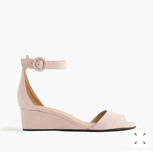 J.Crew Laila wedge in suede blush pink